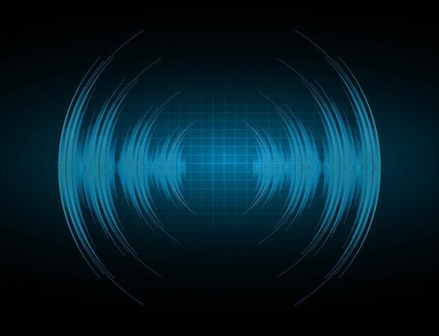 濃い青色光を振動させる音波 Premiumベクター