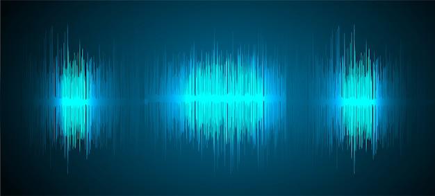 音波振動ダークブルーライトバックグラウンド Premiumベクター
