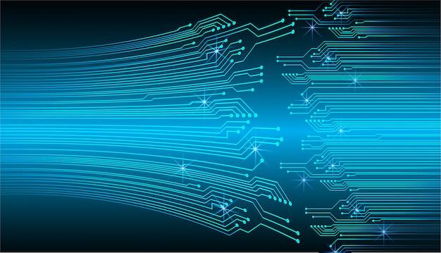 ブルーサイバー回路未来技術コンセプトの背景 Premiumベクター