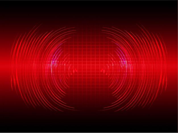 濃い赤色の光の背景を振動させる音波 Premiumベクター