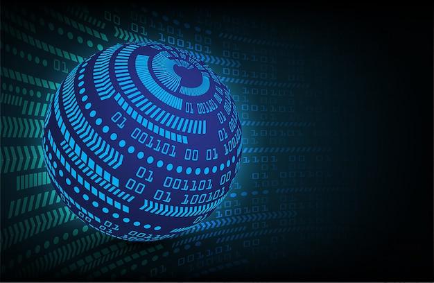 青い世界サイバー回路将来の技術コンセプトの背景 Premiumベクター