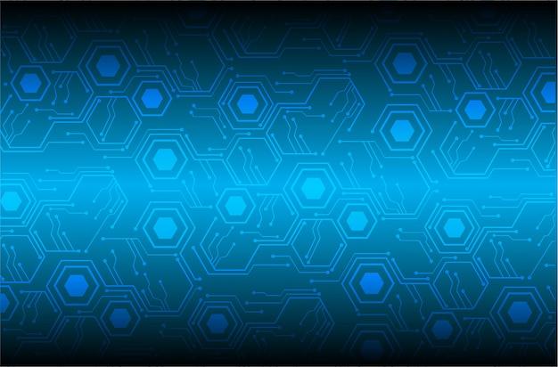 青い六角形のサイバー回路の将来の技術コンセプトの背景 Premiumベクター