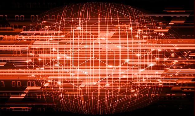 オレンジ色のサイバー回路の将来の技術概念の背景 Premiumベクター