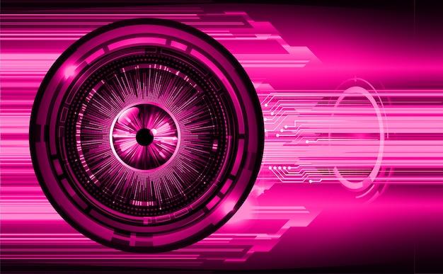 紫色の目サイバー回路未来技術コンセプトの背景 Premiumベクター
