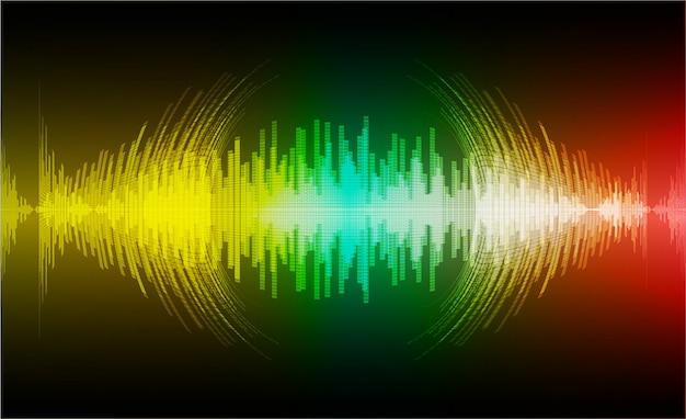 暗緑色黄色赤色光を発振する音波 Premiumベクター