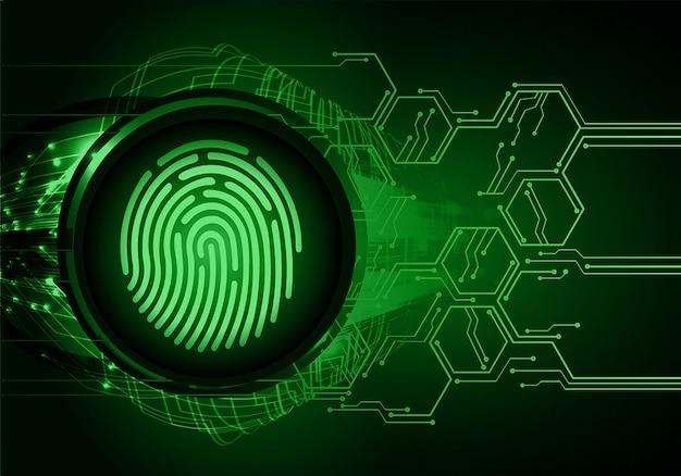 指紋ネットワークサイバーセキュリティの背景。デジタルの南京錠を閉じた。 Premiumベクター
