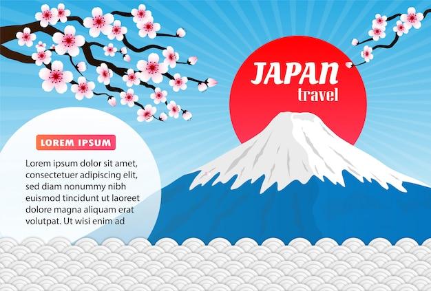 日本のランドマーク旅行ポスター、ピンクの桜と富士山の背景。 Premiumベクター