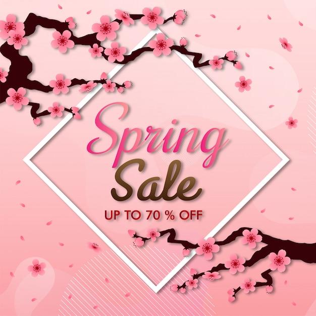 桜ベクトルフレーム。ピンクの桜の背景、販売バナー Premiumベクター