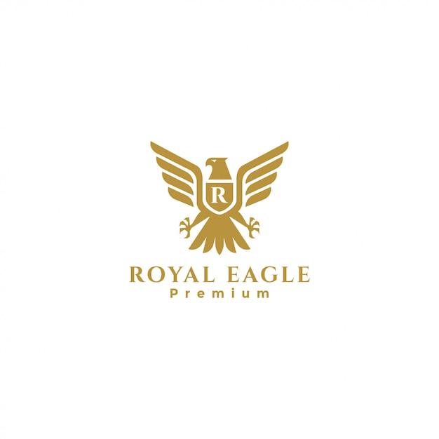 Золотая эмблема королевского орла, эмблема сокола, эмблема ястреба, эмблема орла Premium векторы