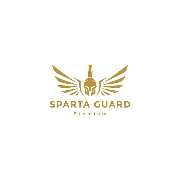 翼のロゴ、スパルタンエンジェルと金のスパルタ戦士 Premiumベクター