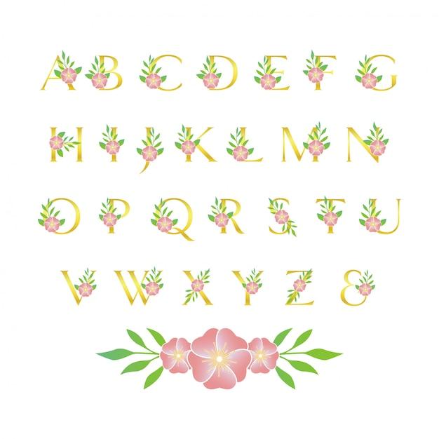 Цветочный шрифт Premium векторы