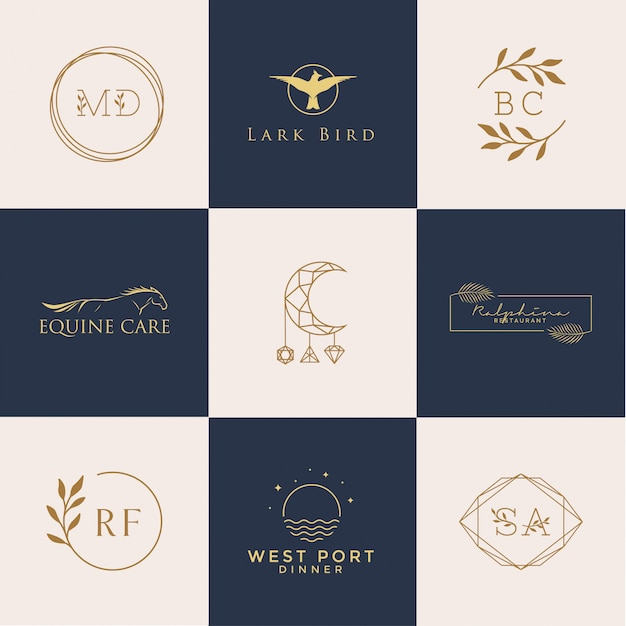 Набор женских логотипов Premium векторы