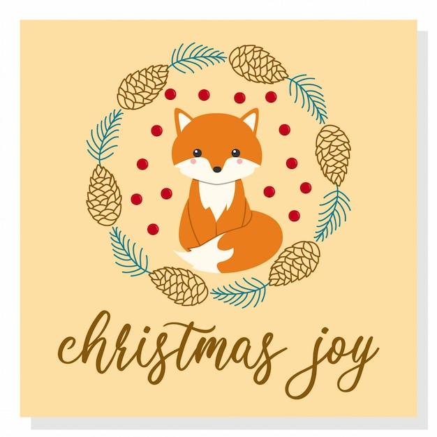 かわいいクリスマスフォックス Premiumベクター