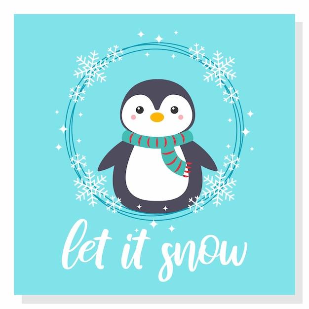 かわいいペンギンの雪 Premiumベクター
