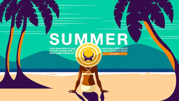 夏休みバナー Premiumベクター