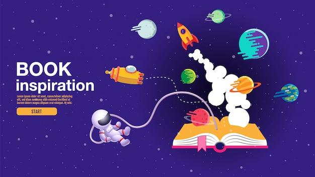 開いた本、空間の背景、学校、読書および学習 Premiumベクター