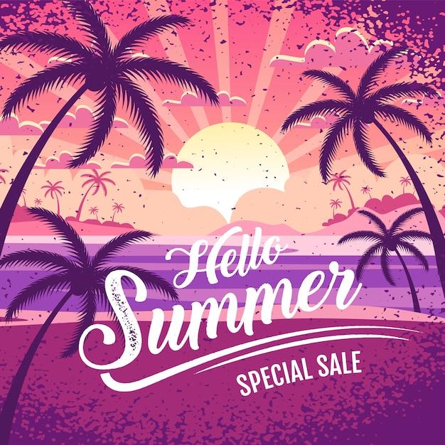 こんにちは夏特別セールバナーレタリングイラスト Premiumベクター