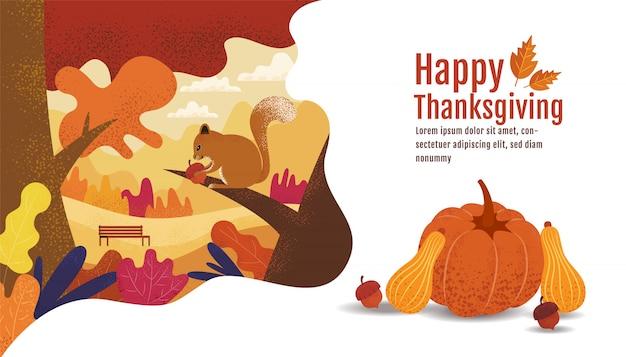 幸せな感謝祭、秋。、図面、漫画、風景 Premiumベクター