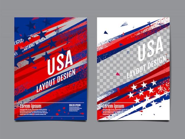 アメリカ国旗テンプレート Premiumベクター