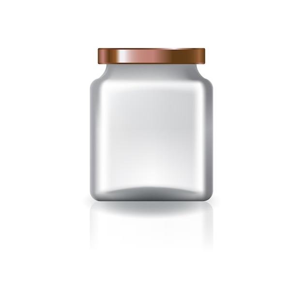 銅の蓋付きの空の透明な四角い瓶。 Premiumベクター
