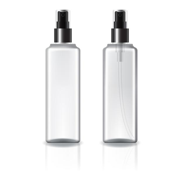 黒いスプレーヘッドが付いている白くそして明確な正方形の化粧品のびん。 Premiumベクター