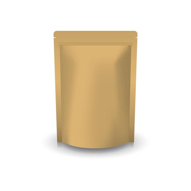 空白の茶色のクラフトペーパー立ってジップロックバッグ。 Premiumベクター