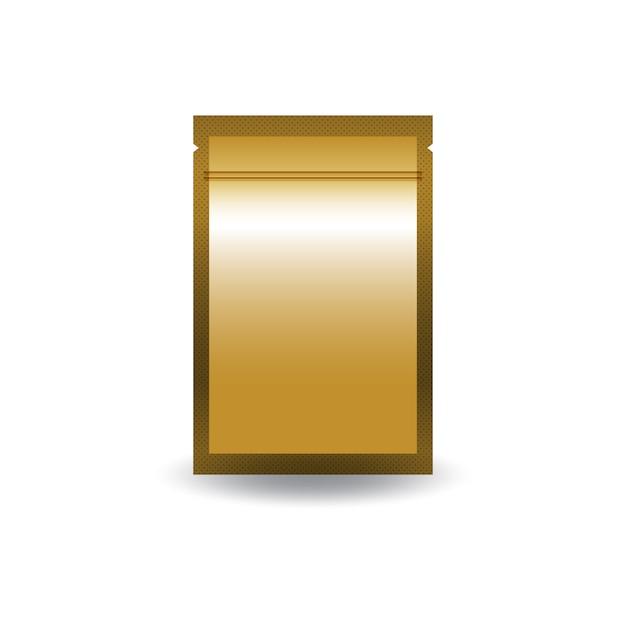空白の金の両面フラットホイルジップロック式バッグ。 Premiumベクター