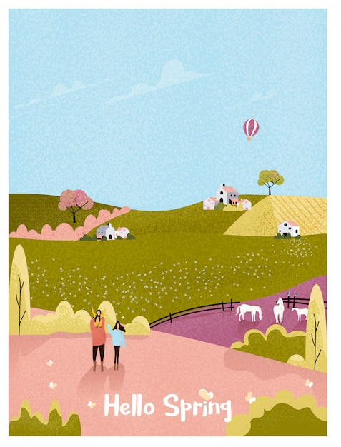 春や夏の風景はがきの田舎の農場。自然農場で子供と幸せな家庭。ノイズと粒子の粗いとビンテージのピンクと緑の色調。 Premiumベクター