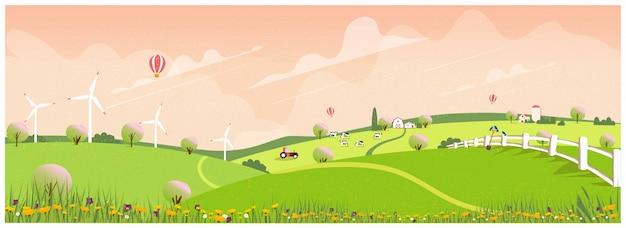 春の田舎の農場。アップルの路地と農家。 Premiumベクター