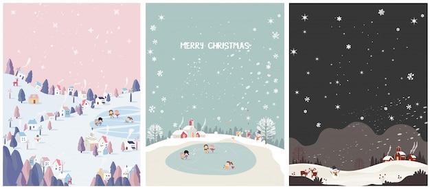 冬の季節のはがきのセット。メリークリスマス。 Premiumベクター