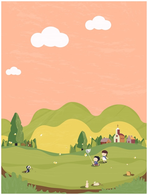緑と地球のトーンで最小限の春夏のイラスト。頭の豚、バタフライ、バニーと外で遊ぶ子供たちとかわいい小さな村。春の人々のはがき。 Premiumベクター