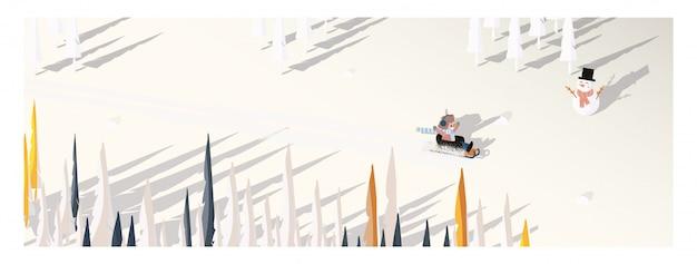 Милый минималистский вектор зимнего сезона. панорамный снежный зимний пейзаж со счастливым катанием ребенка на санях. тень сосны и снеговика положена на белый снег с желтой листвой и лиственным лесом. Premium векторы