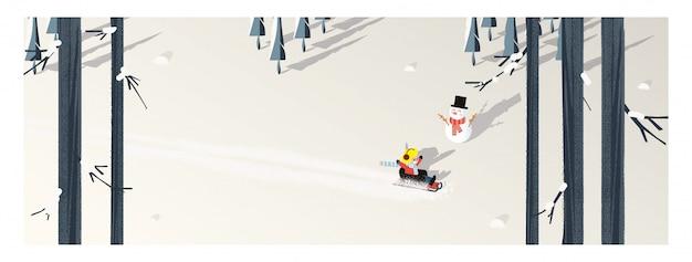 冬のシーズンのかわいいミニマリストのベクトル。そりに乗って幸せな子供とパノラマ雪の冬の風景。松の木と雪だるまの影は黄色い葉と落葉樹林の白い雪の上に置いた。 Premiumベクター