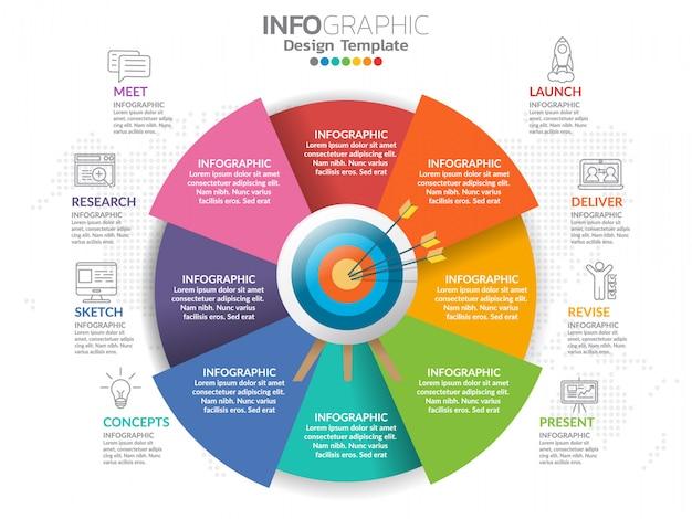 アイコンとオプションや手順のビジネスコンセプトのインフォグラフィック。 Premiumベクター