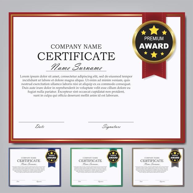 証明書テンプレート賞卒業証書デザインセット。 Premiumベクター