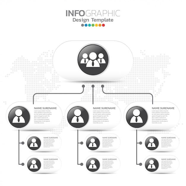 Корпоративный график с иконами деловых людей. Premium векторы