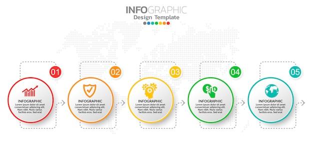 ビジネスコンテンツのデジタルオンラインマーケティングインフォグラフィック手順テンプレート。 Premiumベクター