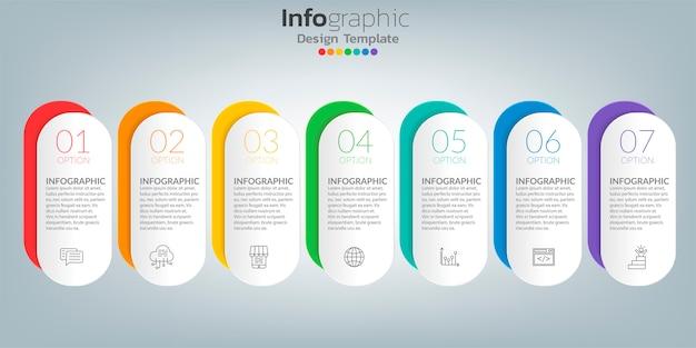 Хронология инфографики шаблон с иконами в концепции успеха. Premium векторы