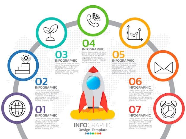 Инфографика для бизнес-концепции с иконками и опциями Premium векторы