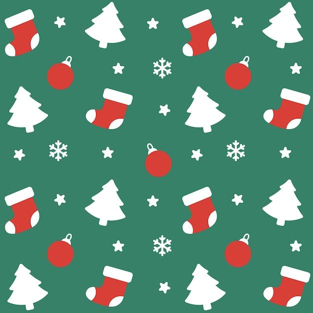 クリスマスソックスと装飾シームレスパターンの背景 Premiumベクター