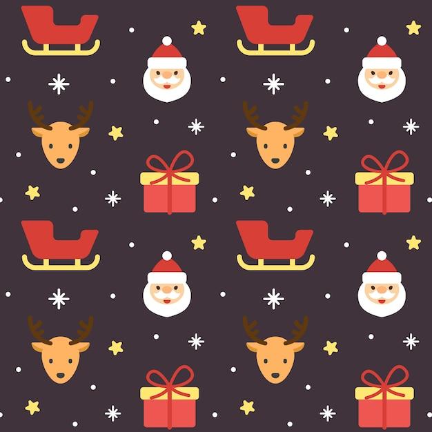 クリスマスサンタクレアとトナカイシームレスパターン Premiumベクター