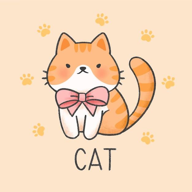 Милый кот мультфильм рисованной стиль Premium векторы