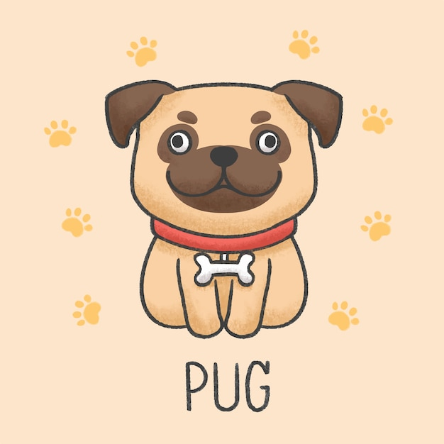 かわいいパグ犬漫画手描きスタイル Premiumベクター