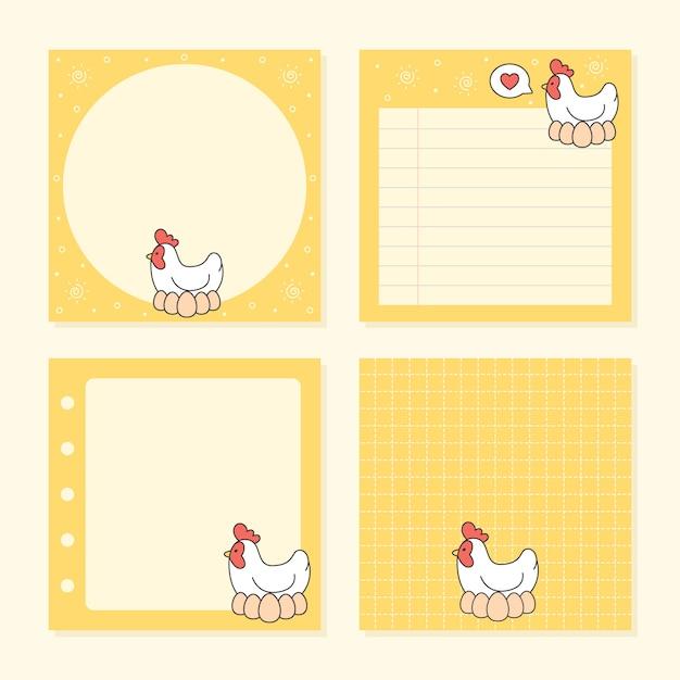 メモ帳の鶏と卵のコレクションのパック Premiumベクター