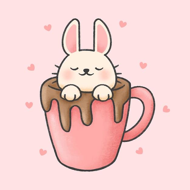 一杯のチョコレート漫画手描きスタイルのウサギ Premiumベクター
