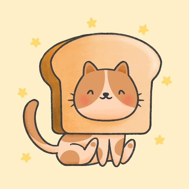 パン帽子漫画手描きスタイルのかわいい猫 Premiumベクター