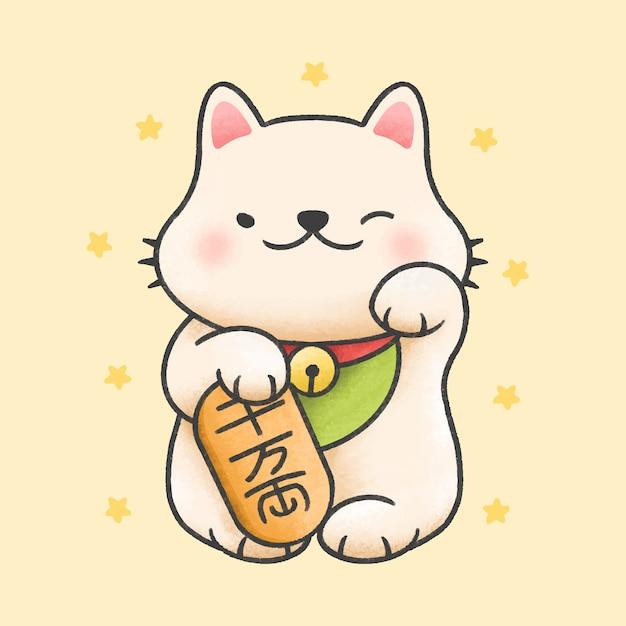 かわいい招き猫幸運猫漫画手描きスタイル Premiumベクター
