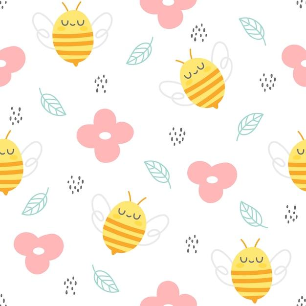 Пчела и цветы бесшовный фон Premium векторы