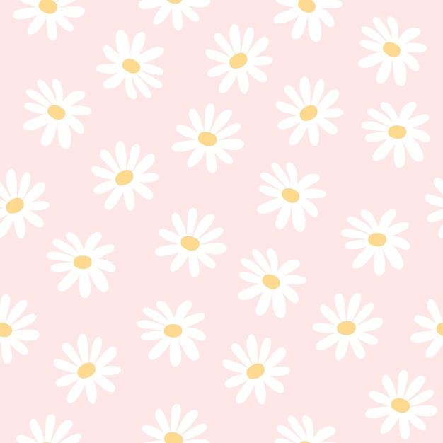 デイジーの花のシームレスなパターン背景 Premiumベクター