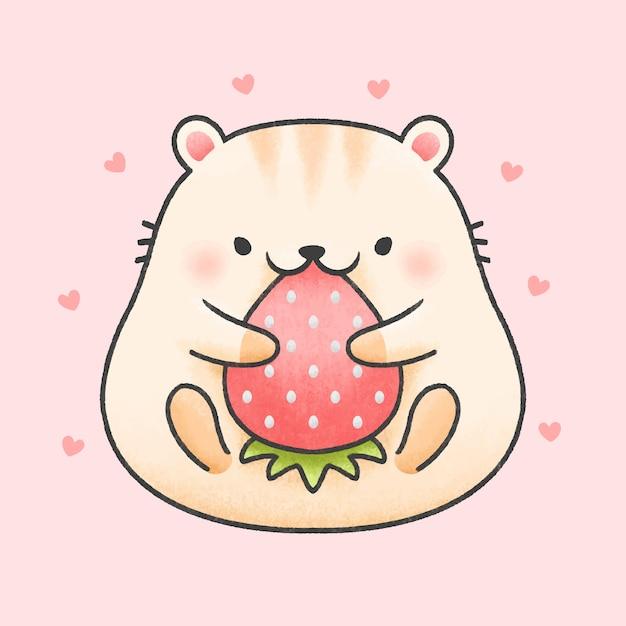 Милый хомяк ест клубнику мультяшный рисованной стиль Premium векторы